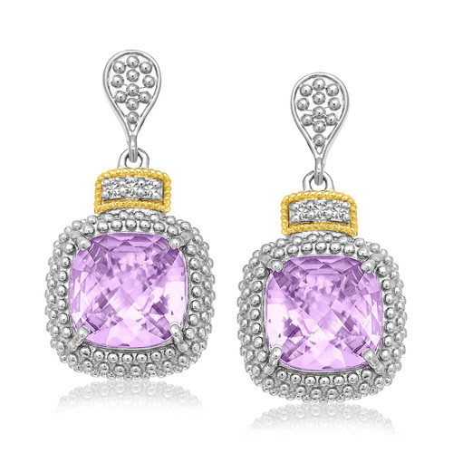 Phillip Gavriel Womens Sterling Silver Amethyst & Diamond Earrings