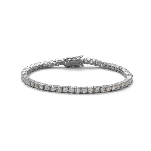 Rhodium Plated 3mm Cubic Zirconia Tennis Bracelet