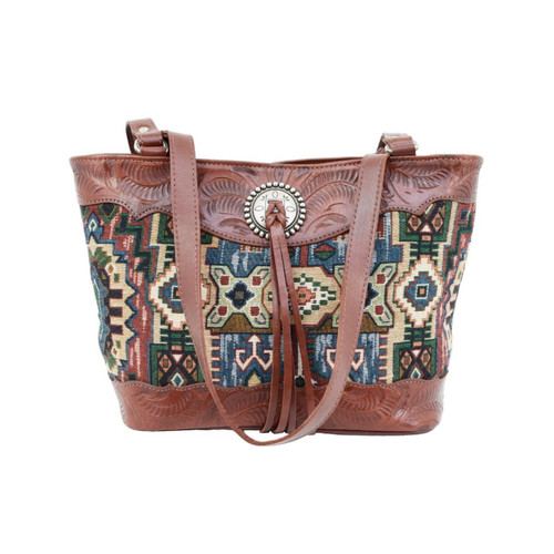 American West Womens Bella Beau Tapestry and Leather Zip Top Tote