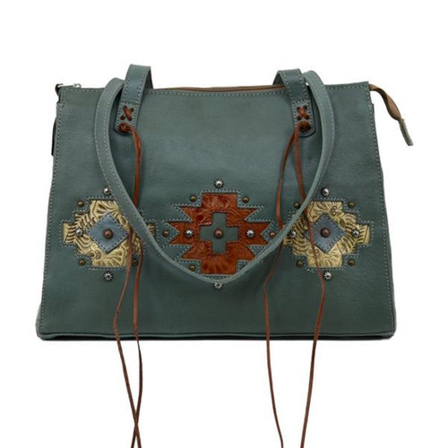 American West Womens Navajo Soul Zip Top Tote with Secret Compartment
