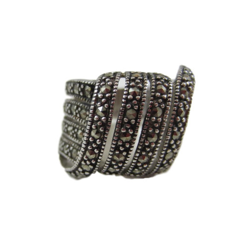 Vintage Fifth Avenue Collection Sterling Silver Marcasite Wide Ring Size 6