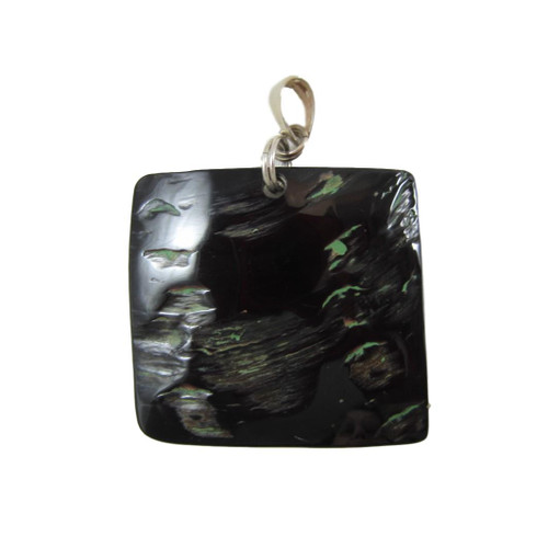 """Vintage Square Polished Black Shell Pendant with 18"""" Silver Plated"""