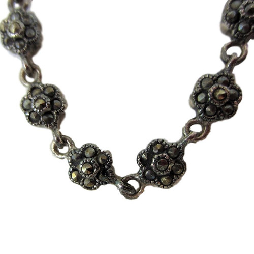 """Vintage Sterling Silver Petite Roses Marcasite Necklace - 18"""""""