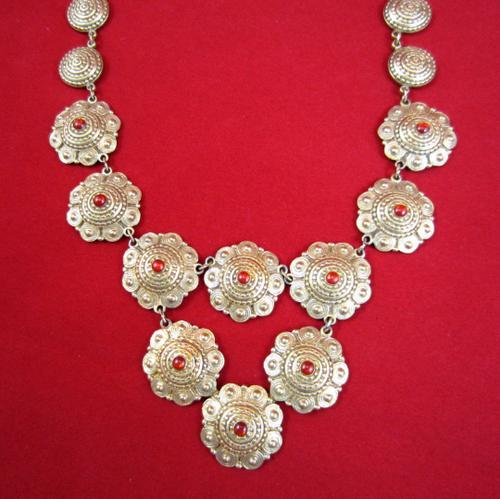 VINTAGE Round Textured Brass Discs Statement Necklace