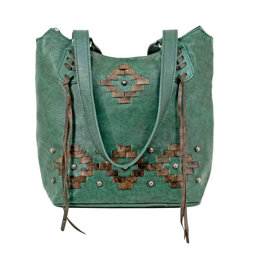 American West Womens Tribal Weave Zip Top Bucket Tote