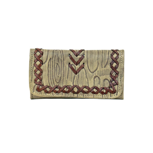 American West Womens Driftwood Tri-Fold Wallet