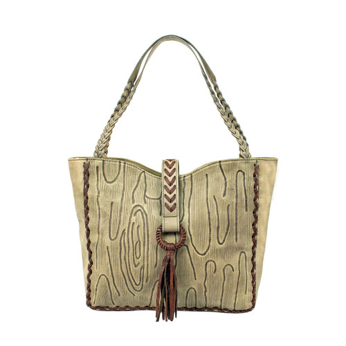 American West Womens Driftwood Large Zip Top Tote Bag
