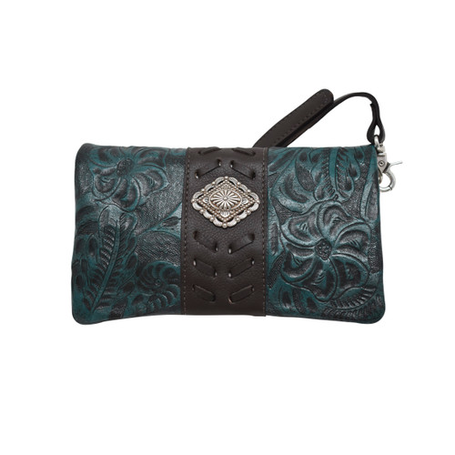 American West Womens Grab-And-Go Foldover Crossbody /Clutch/Wallet Bag