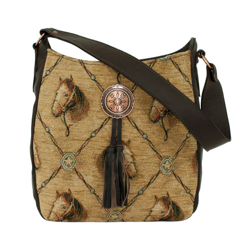 American West Womens Bridle and Bits Tapestry Zip Top Hobo Shoulder Bag