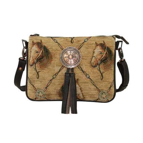 American West Womens Bridle and Bits Tapestry Multi-Compartment Crossbody - 9540789