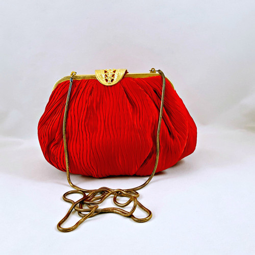Vintage Carla Marchi Red Micro-Pleated Evening Bag Lovely Gold Closure