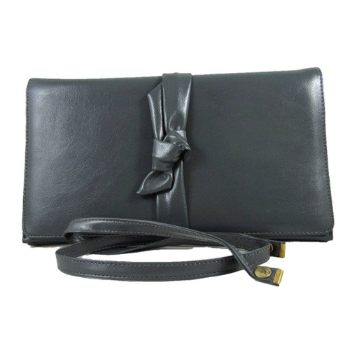 Vintage Gray Smooth Leather Clutch with Bow Design Removable Shoulder Strap