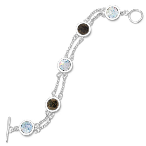 Sterling Silver 2 Strand Toggle Bracelet -Ancient Roman Glass & Antique Roman Coins - 7.75""