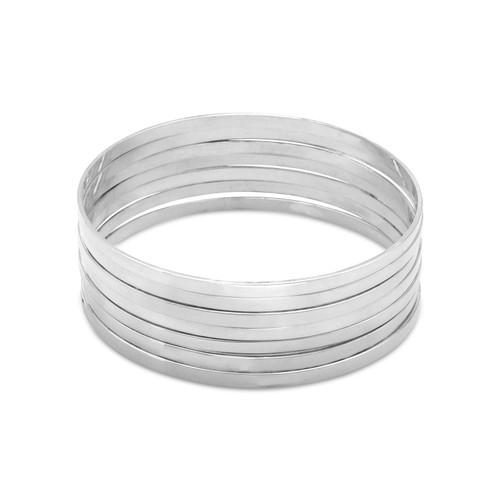 """Set of 7 8"""" Flat Sterling Silver Bangle Bracelets"""