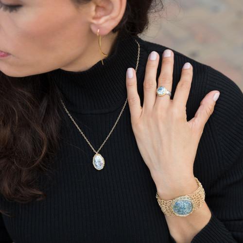 Gold Filled Womens Woven Ancient Roman Glass Bracelet