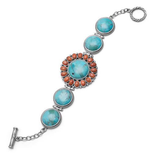 "Reconstituted Turquoise and Coral 7.5"" Sunburst Toggle Bracelet in Oxidized Sterling Silver"
