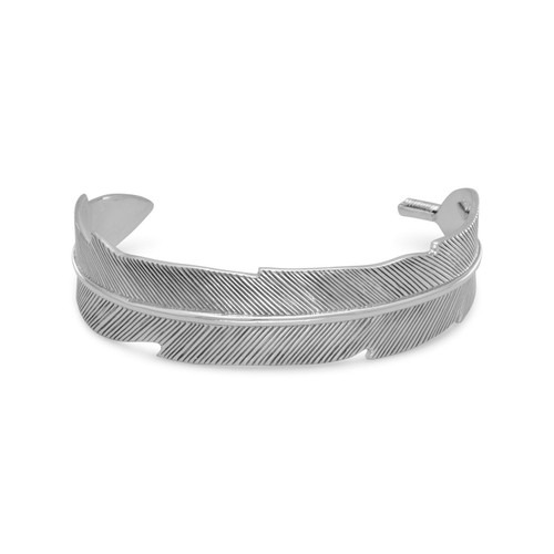 Oxidized Sterling Silter Feather Cuff Bracelet