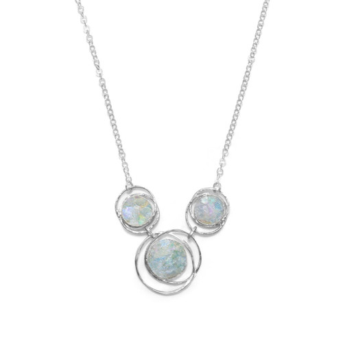 Sterling Silver Abstract Circle Roman Glass Necklace - 17 inch