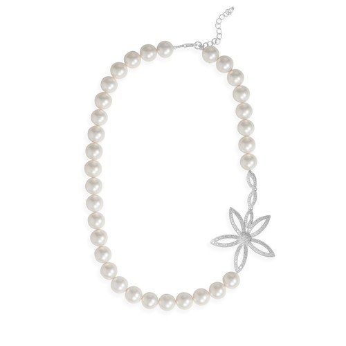 Rhodium Plated Sterling Silver Lacquered Mother of Pearl and CZ Daisy Necklace