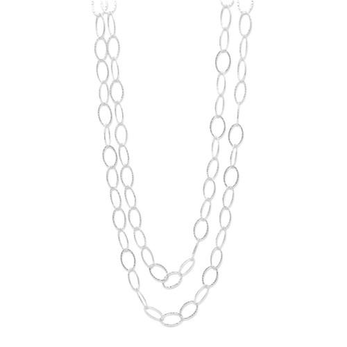 "Sterling Silver Hammered Oval Link 60"" Necklace"