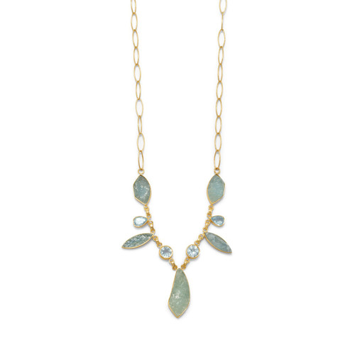 Aquamarine and Blue Topaz Necklace in 14 Karat Gold Plated Sterling Silver