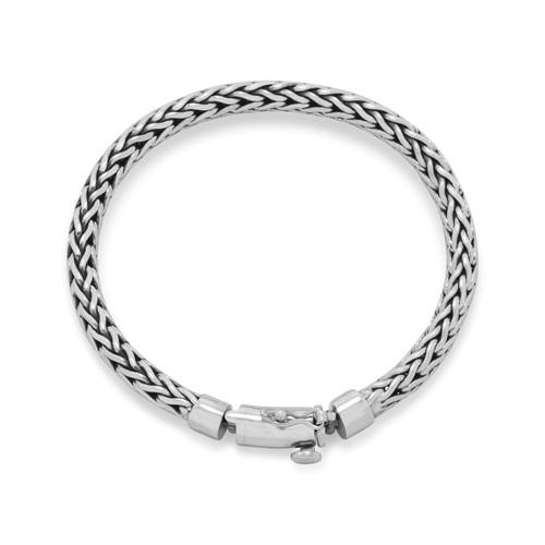 Oxidized Sterling Silver Woven Bali Bracelet