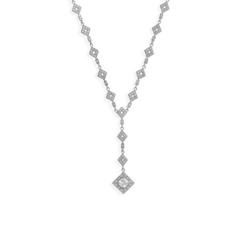 Rhodium Plated Sterling Silver CZ Diamond Shape Y Drop Necklace