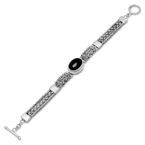 Oxidized Filigree Design Toggle Bracelet with Black Onyx