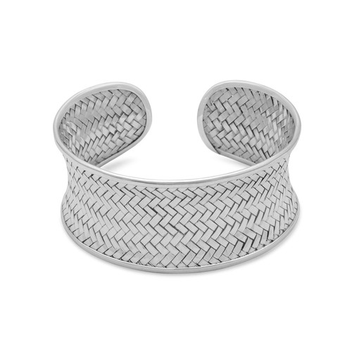 Sterling Silver Womens Concave Woven Cuff Bracelet