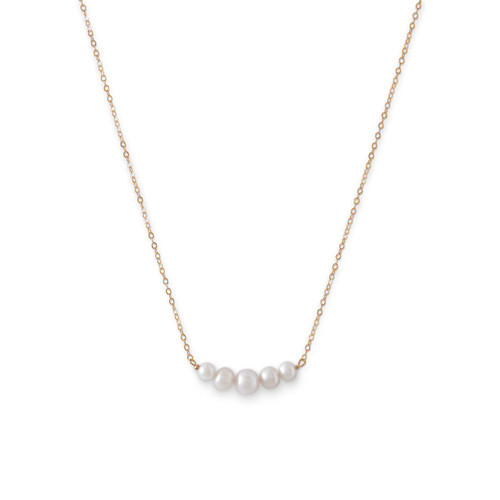 14 Karat Gold Necklace with 5 Cultured Freshwater Pearls
