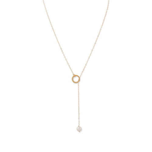 14 Karat Gold Lariat Necklace with Cultured Freshwater Pearl End