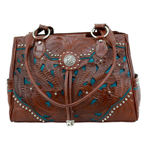 American West Womens Lady Lace Multi-compartment Organizer Tote -Chestnut Brown/Dark Turquoise
