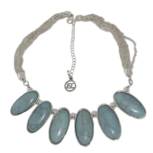Erica Lyons Faux Turquoise Stones Silvertone Strand Necklace