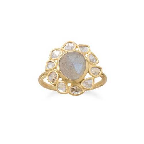 Polki Diamond and Labradorite Womens Ring 14 Karat Gold Plated