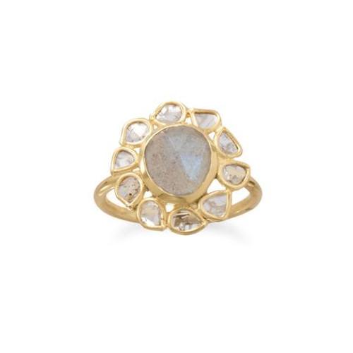Polki Diamond and Labradorite Womens Ring 14 Karat Gold Plated