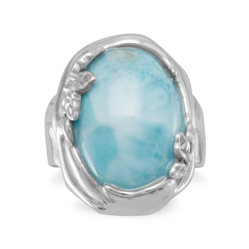 Rhodium Plated Womens Larimar Ring with Leaf Design
