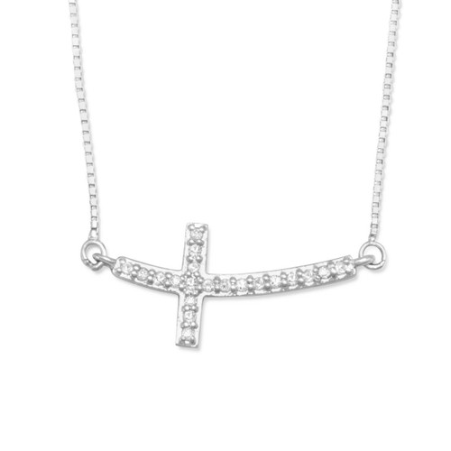 Rhodium Plated Sterling Silver Womens Sideways Cross Diamond Necklace