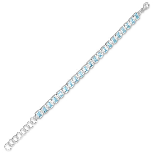 "Sterling Silver Womens Blue Topaz Bracelet - 7"" + 1"" Extension ("