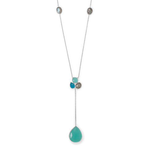 Chalcedony, Green Jade and Labradorite Necklace in Sterling Silver