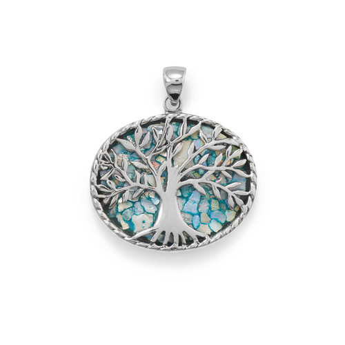 Oxidized Sterling Silver Roman Glass Tree of Life Pendant - Certificate of Authenticity
