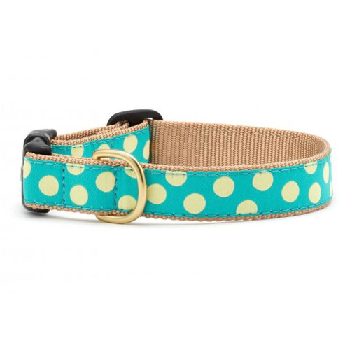Up Country Teal Yellow Dot Ribbon Dog Collar - All Sizes