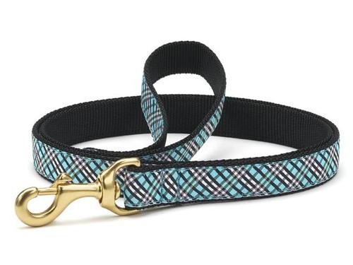 Up Country Aqua Plaid Standard Dog Lead Leash