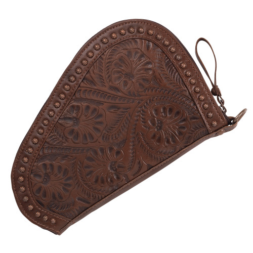 American West Unisex Padded Hand Tooled Leather Gun Case - Chestnut Brown