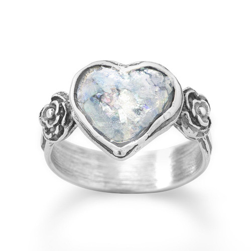 Oxidized Sterling Silver Roman Glass Heart Ring