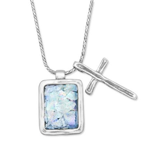 Sterling Silver Roman Glass and Cross Charm Necklace