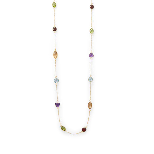 Multi Stone 14 Karat Gold Plated Necklace 25 inch