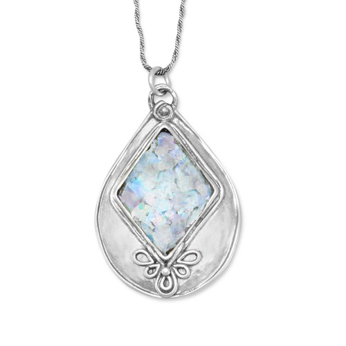 Textured Sterling Silver Pear Shaped Pendant with Ancient Roman Glass Necklace