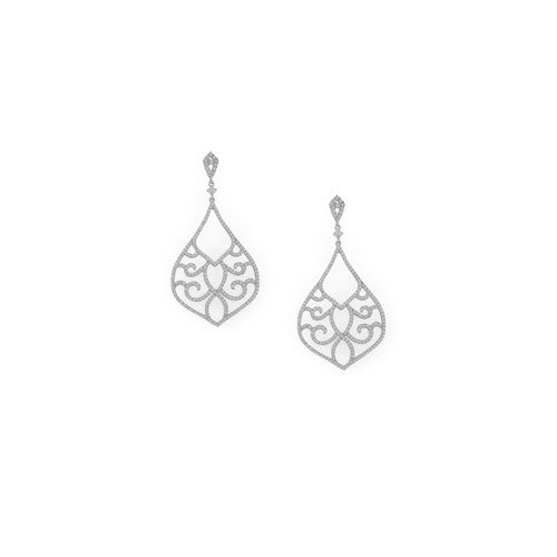 Ornate CZ Raindrop Post Earrings Rhodium Plated Sterling Silver
