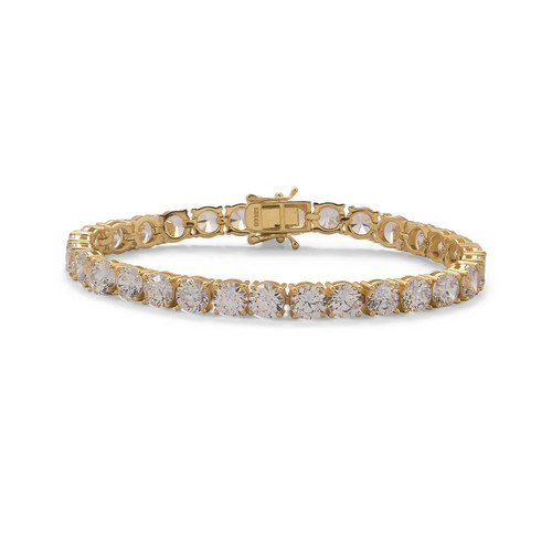 "CZ 6mm Tennis Bracelet 7.5"" Gold Plated Sterling Silver"