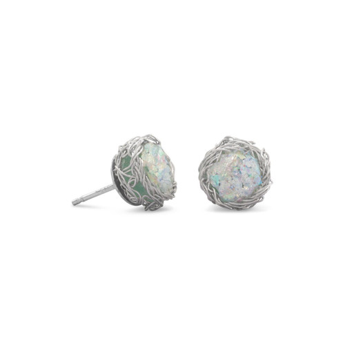 Round Ancient Roman Glass Stud Earrings Woven Wire Mesh Sterling Silver